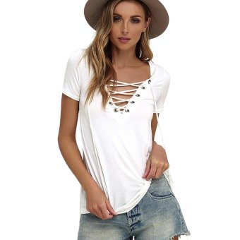 Sunweb New Fashion Women V-Neck Short Sleeve Lace Up Pure Color Tee Slim Casual Basic Blouse Tops ( White ) - intl