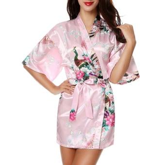 Moonar Sexy Women Silk Print Kimono Gown Half Sleeve Sleepwear Cardigan Bath Robe ( Pink ) - intl