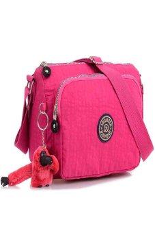 HKS Waterproof Nylon Handbag Shoulder Diagonal Bag Messenger Hot Pink - intl