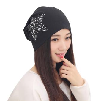 Fashion Women Knit Baggy Beanie Star Head Cap (Black) - intl