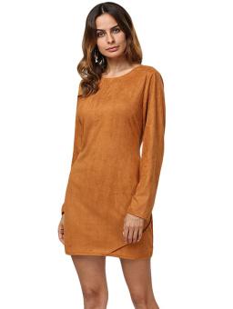 Women Round Collar Micro-elastic Mini Dress (Wheat) - intl