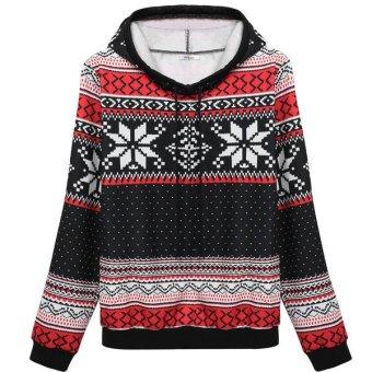Cyber Meaneor Women Fashion Casual Loose Print Hooded Pullover Sweatshirt Hoodie(Black) - Intl