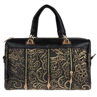 Luxury Women Leather Messenger Bag Tote Shoulder Bag Lace Handbag Gold/Black - Intl