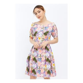 Đầm Xòe Tay Cánh Dơi Phối Hoa Nhiều Màu