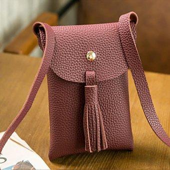 Moonar PU leather tassel women shoulder bag (Small Red) - intl