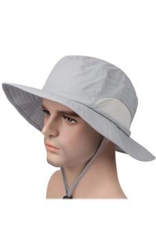 Soft Unisex Adults Wide Brim Sun UPF 50+ Protection Bucket Hat Cap with Adjustable Chin Cord Light Grey (Intl) - intl