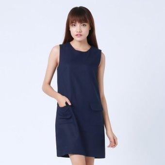 Đầm suông 2 túi Button On BD043 (Xanh Navy)