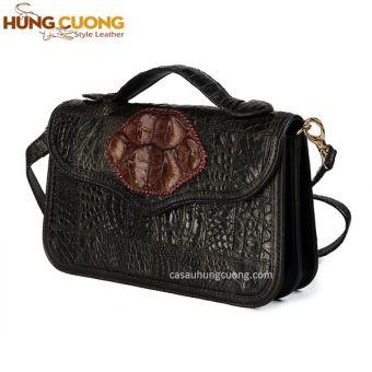 Túi xách da cá sấu thật Hùng Cường HC2006 (Đen)
