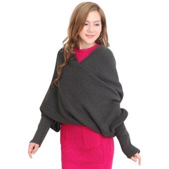 Women Long Sleeve Knitted Jumper Knitwear Outwear Scarf (Gray) - intl
