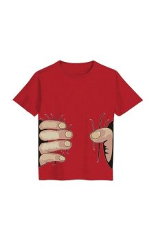 HKS Kids Baby Boys Summer Cartoon Print Short Sleeve T-shirt Cotton Tee Tops Clothes Unique Design Red 130cm - Intl - intl
