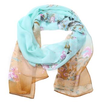 Women Chiffon Scarf Magpie Printing Elegant Shawls Silk Scarf (Light Blue) - intl