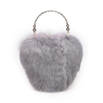 Linemart Limemart Fashion Women's Elegant Clutch Bag Faux Fur Handbag Wallet Candy Color Clutch ( Brown ) ( Brown ) - intl