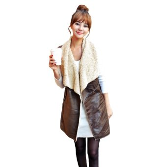 New Fashion Women Vest Coat Suede Faux Fur Lapel Sleeveless Fleece Long Waistcoat Jacket Outerwear Coffee - Intl - intl