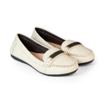 Giày Mọi Nữ Da Bò Đế Bằng HC1379 (Kem)