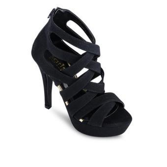 Giày sandal cao gót nữ Sarisiu AT801 (Đen)