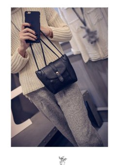 DIY Strap Magnet Button Shoulder Messenger Bag(Black) - intl