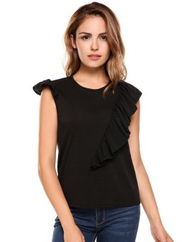 Cyber Women Casual Sleeveless O Neck Solid Ruffles Loose Pullover T-Shirt Frilled Top ( Black ) - intl