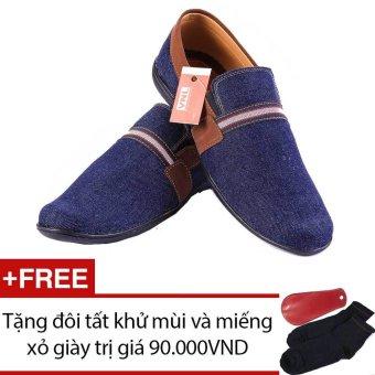 Giày lười nam cao cấp Da Giày Việt Nam VNLLZD17XD (Xanh dương) + Tặng 01 đôi tất khử mùi và 01 miếng xỏ giày trị giá 90.000 VND