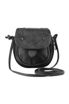 PU Leather Small Adjustable Shoulder Bag (Black)