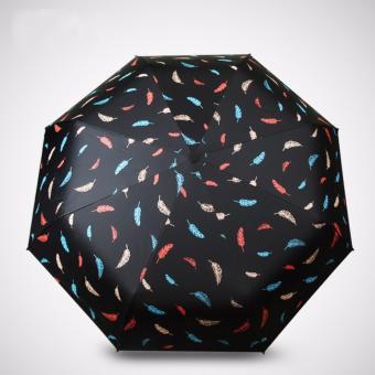 Dù xếp lông vũ đi mưa tiện lợi (màu đen)