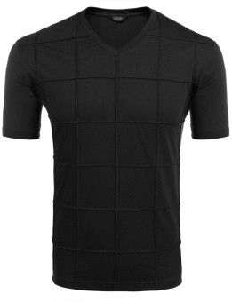 Cyber Men's V-Neck Button Short Sleeve Solid Plaid Summer Casual T-Shirt ( Black ) - intl