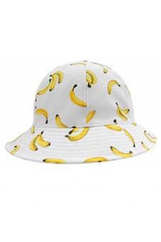 Women Ladies Girls Banana Pattern Fisherman Bucket Cap Summer Beach Sun Hat White