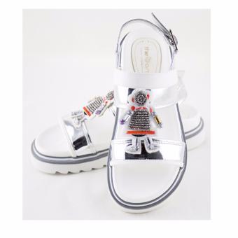 [The bany] Sandal đế bằng 4cm quai ngang thời trang, màu bạc bóng
