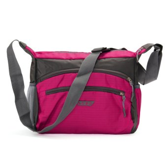 Unisex Women Men Travel Luggage Suitcase Sports Nylon Gym Tote Bag Handbag HOT Rose red - intl
