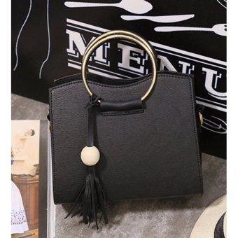 Túi xách nữ tay cầm kim loại tròn (Đen) KMF