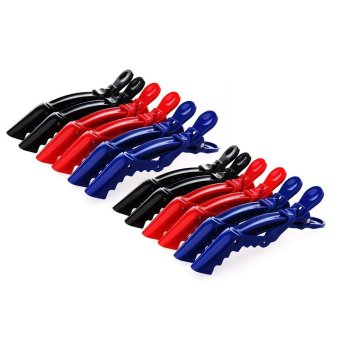 niceEshop 12pcs Plastic Bows Hair Clips Salon Croc Clips DIY Accessories Hairpins Styling Claw Hair Barrettes -Random Color - intl