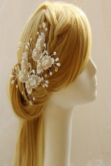 HKS Fashion Pearl Crystal Butterfly Wedding Hair Pin Bridal Accesory - intl