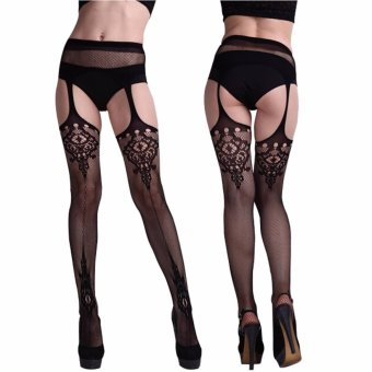 Fashion Sexy Women Black Lace Thigh-Highs Leggings Stockings Garter Belt Socks Black - intl