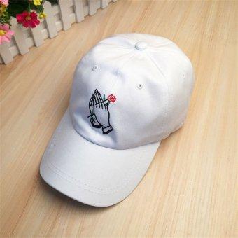 Men Women Unisex Rose Baseball Cap Snapback Sport Hip-Hop Dance Adjustable Hat White - intl