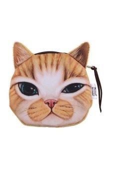 HKS Children Cute Cat Face Zipper Case Coin Money Kids Purse Wallet Makeup Bag Pouch Eyes - intl