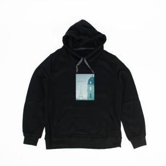 Áo khoác hoodie nữ in hình Paris Day (đen)