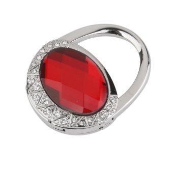 Red Oval Acrylic Foldable Purse Bag Handbag Hanger Hook Holder Hot Gift - Intl