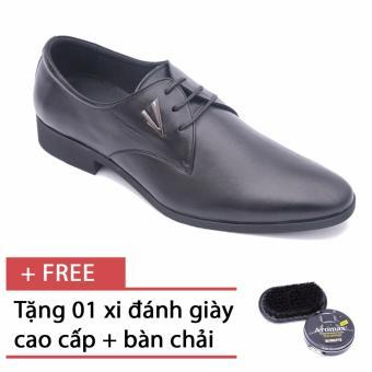 Giày da công sở buộc dây thời trang Smartmen GL-029BD (Đen) - tặng kèm 1 bàn chải và xi đánh giày cao cấp.