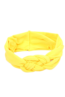 Fancyqube Soft Girl Kids Hairband Turban Knitted Knot Cross Headband Headwear Yellow