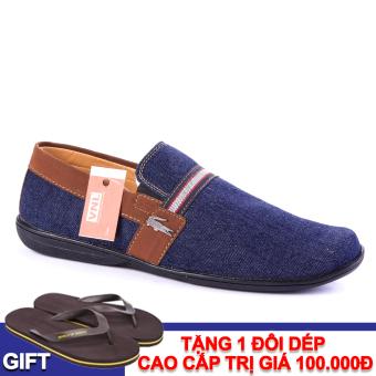 Giày Lười Nam Da Giày Việt Nam VNLA17XD-1 (Xanh Đen) + Tặng 1 đôi dép cao cấp