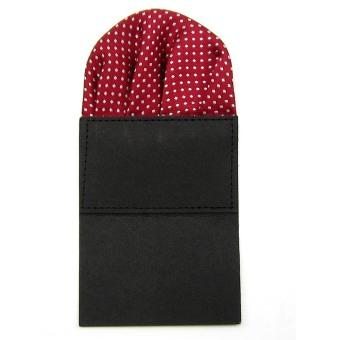 Classic Men's Suit Wedding Pocket Square Folded Handkerchief Holder Dot Design for Bridegroom Groomsman Purplish Red - intl