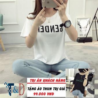 Áo Thun Nữ In Hình Gender Năng Động D303 Trần Doanh ( Màu Trắng ) + Tặng Áo Thun In Hình T&D Cao Cấp