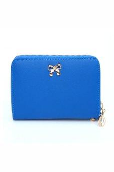 HKS Women Korean Cute Bowknot Purse Solid Wearable Wallet Dark blue - intl