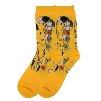 Warmth Retro Art Oil Painting Style Pure Cotton Women And Men's Long Socks - INTL