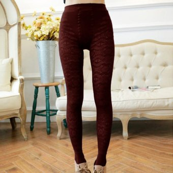 Hot Sale Fashion Sexy Women Winter Slim High Stretch Pants Tights Thick Fleece Leggings Cotton Warm Skinny Pencil Trousers(Wine Red) - intl