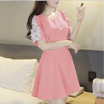 Đầm xòe tay ren TAT251D (màu hồng)
