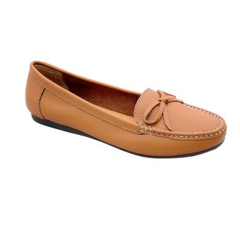 Giày nữ thấp da bò thật cao cấp be Vàng ESW04