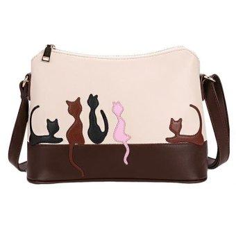 Linemart Women Synthetic Leather Handbag Shoulder Bag Satchel Purse Messenger Croos Body Bag ( White ) - intl