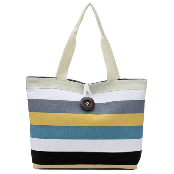 Women Shoulder Handbag Colorful Stripe Canvas Shopping Tote Bag Style A - intl