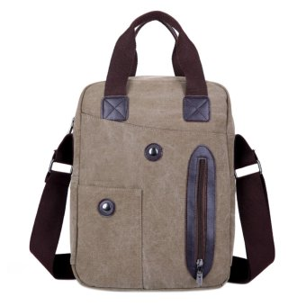 2016 Men Travel Sport Canvas Fashion Cool Messenger Bag(Khaki) - intl