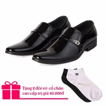 Giày tây da bò cao cấp Hùng Cường HC1026 (Đen)